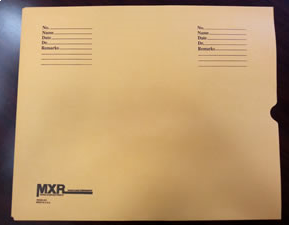 190082-250 - Brown Kraft Standard Imprint 28# Negative Preserver Open End Thumb Cut 14 x 17 with MXR Logo