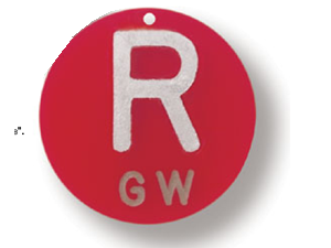 polycarbonate right round marker with 1-2 initials xray markers