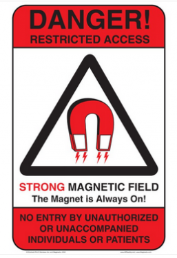 414073 - MRI Sign - DANGER RESTRICTED ACCESS STRONG MAGNETIC FIELD - English