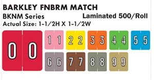 Barkley FNBRM Match BKNM Series Numeric Color Code Roll Labels