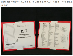 257332-250 - MFR: CI7135 Open Top Category Insert Jackets - C.T. Scan with Red Border Ink Color - System A
