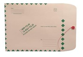 "264964 - XM1105 - Open End Standard X-Ray Film Mailer - 11"" x 13"" - Ungummed with button & string - Green Diamond Border with Standard Imprint"