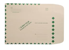 "264965 - XM1200 - Open End Standard X-Ray Film Mailer - 11"" x 13"" - Ungummed - Green Diamond Border with Standard Imprint without Seal"