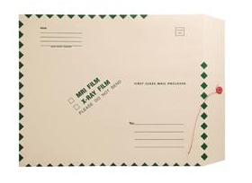 "256266 - XM1510 - Open End Standard X-Ray Film Mailer 15"" x 18"" - Ungummed with button & string - Green Diamond Border with Standard Imprint"